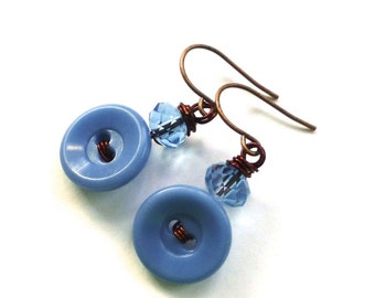 Light Blue Vintage Button Earrings on Brown Wire