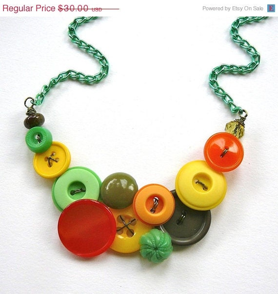 Christmas in July Sale Funky Necklace in Yellow, Orange, Bright Green and Olive Green Vintage Buttons