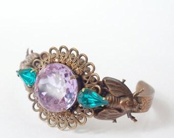 Jewel cuff bracelet alexadrite lavender purple blue art nouveau copper finish fly 1920s style