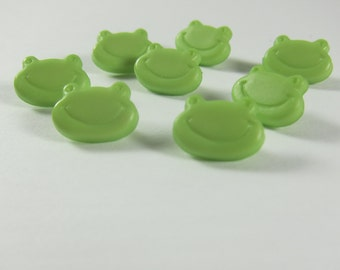 Tiny Light Green Frog Face Novelty Buttons