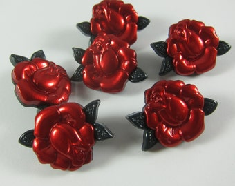 Red Metallic Rose Novelty Buttons