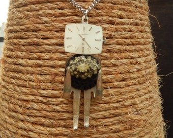 Squarehead Fork Person Necklace Repurposed with Watch Face, Crochet Button,  Costume Ring, and Silverplate Fork