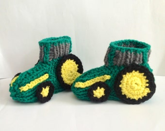Green Tractor Slippers Children's Slippers Knitted Slippers Made to Order