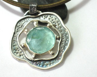 Ancient Roman Glass Pendant, Silver Roman Glass Necklace, Hammered Sterling Pendant, Statement Silver Necklace, Handmade,2000 year old glass