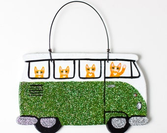Glittery Bus Road Trip Clay Cat Folk Art Ornament