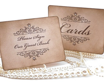 Wedding Sign - Cards and Please Sign Our Guest Book - Brown - Matching Items Available