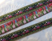 TWO YARDS + 16 INCHES, Last of ribbon ... Red & Pink Flower Embroidered Ribbon, woven, metallic gold edging... 3 yds. Vintage Ribbon Yardage