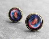 Supernova Earring Studs,Astronomy Jewelry,Space Earrings,Galaxy Post Earrings,Nebula Jewelry,Night Sky,Blue Red Galaxy Earrings (E033)