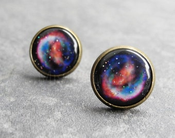 Supernova Earring Studs,Astronomy Jewelry,Space Earrings,Galaxy Post Earrings,Nebula Jewelry,Night Sky,Blue Red Galaxy Earrings (E033)