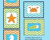 Ocean Sealife Crab, Seahorse, Fish, Starfish, Kids bathroom art, Set of FIVE 8x10 art prints