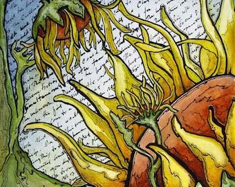 Giclee Print Graphic Comic Style Alien Sunflowers by Rebecca Salcedo EBSQ FFAW