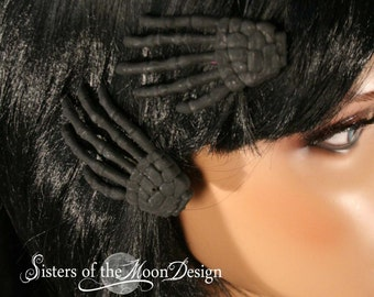 Shadow Skeleton hands hair clips with painted back pair halloween costume barrette -- Sisters of the Moon