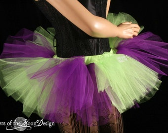 Mini adult tutu skirt Peek a boo purple and neon green stripe roller derby run gogo dance -- You Choose Size -- Sisters of the Moon