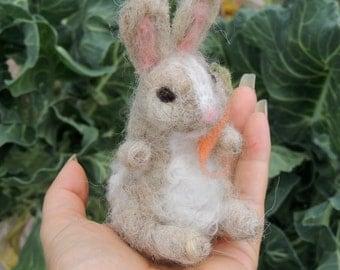 Bunny- needle felted playmat Waldorf Inspired by Rebecca Varon Nushkie Design