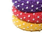 The Driven Snow Knitted Bangle Bracelet in Purple - Medium