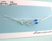 A Sister is A Forever Friend Blue Sapphire Swarovski Crystal Birthstone Infinity Charm Pendant Necklace Christmas Birthday Gift Modern Chic