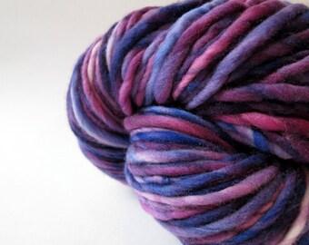 Handspun Yarn – Hand Dyed Merino Wool – Aran Weight Singles Yarn – Purple and Blue – 100 Yards