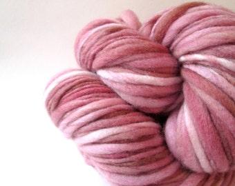 Handspun Yarn – Hand Dyed Merino Wool – Aran Weight Singles Yarn – Rose Pink – 116 Yards