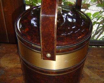Vintage Mid Century Modern Brown Vinyl and Brass Ice Bucket Signed Georges Briard