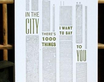In The City mini letterpress print