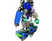 Playful Peacock - Blue Green and Purple Lampwork and Pewter Wire Wrapped Chain Bookmark