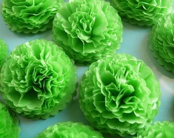 Spring Green Button Mums Tissue Paper Flowers 1 inch   Wedding, Bridal Shower, Baby Shower Decor