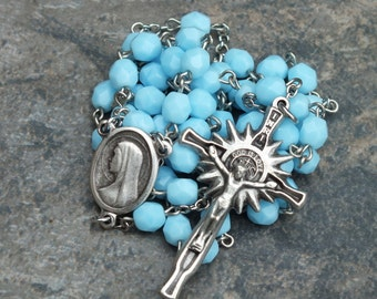Czech Glass Rosary in Solid/Opaque Turquoise, 5 Decade Rosary