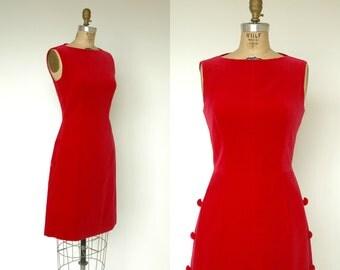 Vintage Red Dress ---  1960s Red Velvet Dynasty Cocktail Dress