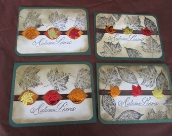 Set of 4 Autumn Leaves Cards.