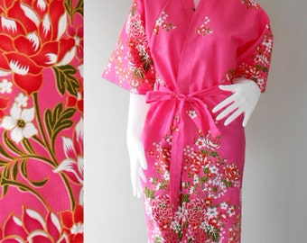 Short Sleeved Kimono Robe Floral Pink Thai Batik Cotton Crossover Knee length Robebridal robe, Bridesmaids Robes S-L (R63)