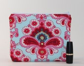 Pink and Blue Divided Cosmetic Bag - 2 Compartments - Amy Butler French Wallpaper