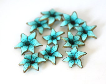 Teal Lily Beads, Polymer Clay Beads, Blue Green Flower Beads 10 pieces