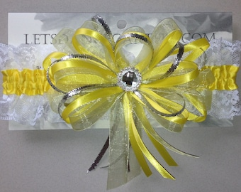 Yellow Silver Prom Homecoming Garter with lace