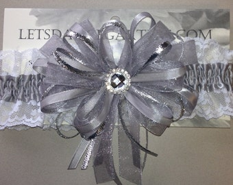 Silver Grey Prom Homecoming Garter with lace