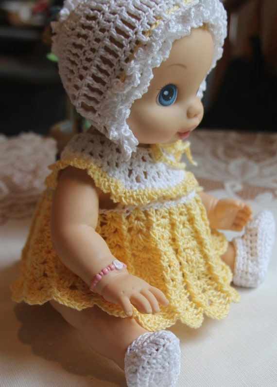 Crochet Outfit Baby Alive 12 13 Inch Baby Doll Yellow White