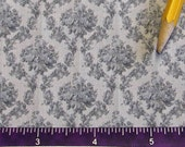 Dollhouse Miniature Victorian UPHOLSTERY FABRIC Grey Rose Lattice 1/12th