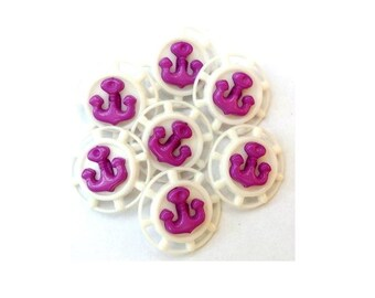 15 Vintage buttons violet anchor on white plastic, 18mm