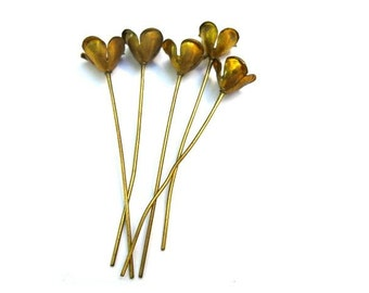 6 headpin metal flowers, RARE vintage, the flower is 6mm height, the metal pin is 50mm
