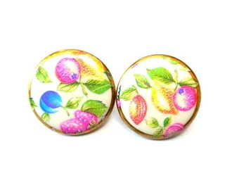 6 Glass buttons colorful flowers on white milk 21mm new buttons