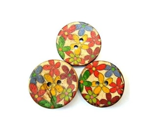 6 Buttons, coconut shell buttons colorful flower ornament suitable for button jewelry, 22mm