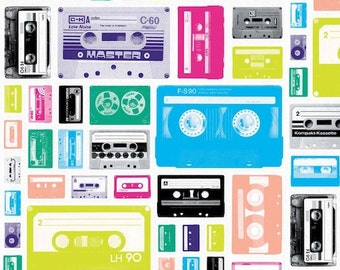 Riley Blake White Geekly Cassettes