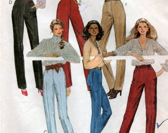 vintage 1970s Fitted Pants sewing pattern McCalls 6767 3 sizes