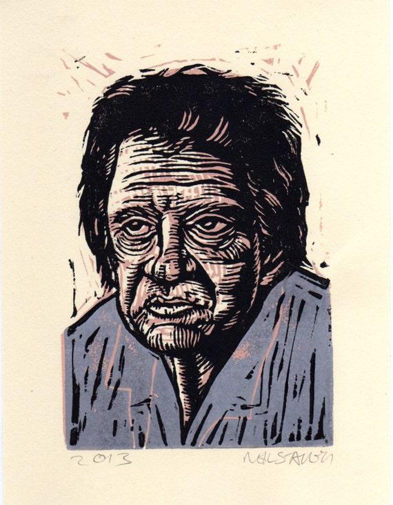 Johnny Cash Linocut Art Print