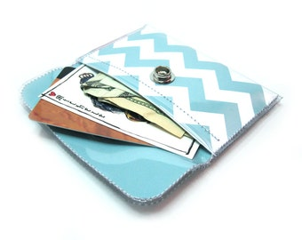 Chevron Print Card Holder Snap Wallet