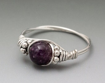 Lepidolite Bali Sterling Silver Wire Wrapped Ring ANY size
