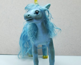 Little Blue Unicorn Sculpture by Shelly Schwartz