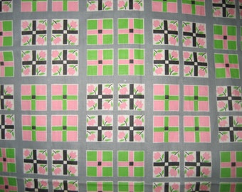 Vintage 60's Polished Cotton Fabric Windowpane Plaid Pale Pink,White & Mint Green 3.5 yds.