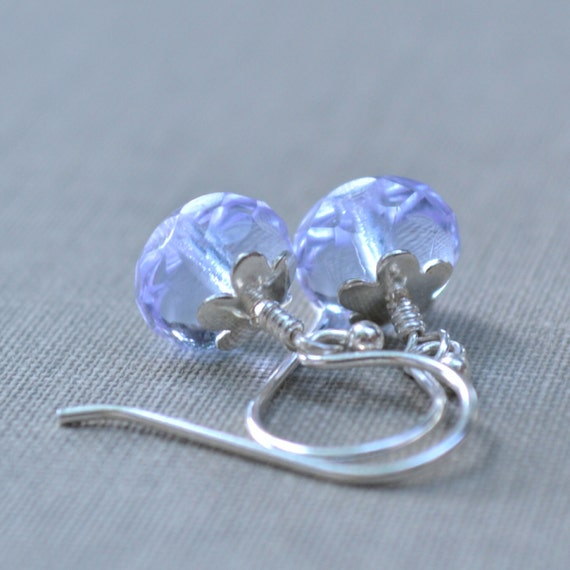 Lavender and Sterling Silver Earrings, Dainty French Hook, Pale Purple Glass and Sterling Flower, Bridesmaid Earrings