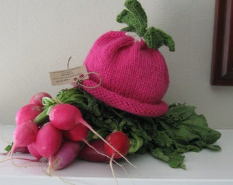 Pink Radish  Baby Hat - Wool - 0-3 Months - mymarketstall original - Cute Photo Prop or Everyday Use - Made-to-Order