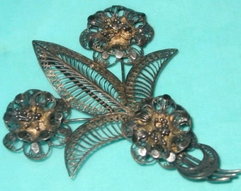 Vintage FAB Flower and Leaf Filigree Silver Pin